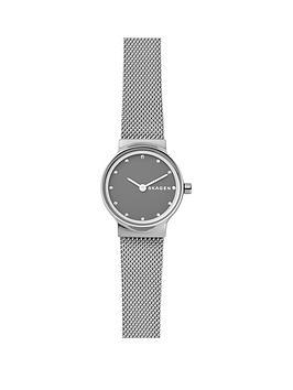 skagen-skagen-ladies-watch-stainless-steel-mesh-bracelet-gray-sandblast-dial-with-clear-crystals-accents