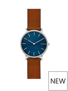 skagen-skagen-mens-watch-brown-leather-strap-stainless-steel-case-with-blue-dial