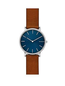 skagen-skagen-mens-watch-brown-leather-strap-stainless-steel-case-with-blue-dial