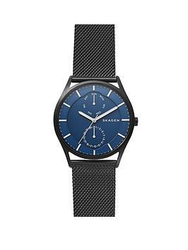 skagen-skagen-mens-watch-black-ip-stainless-steel-mesh-bracelet-with-blue-multifunction-dial