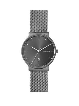 skagen-stainless-steel-mesh-bracelet-titanium-case-with-tonal-grey-dial-mens-watch