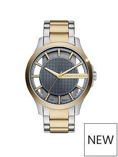 armani-exchange-armani-exchange-mens-watch-two-tone-stainless-steel-case-and-bracelet-with-skelelton-and-blue-textured-dial