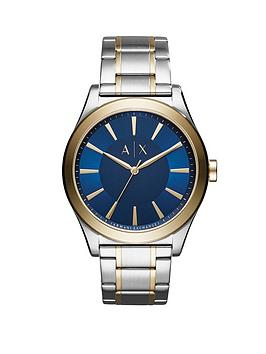 armani-exchange-two-tone-stainless-steel-case-blue-sunray-dial-mens-bracelet-watch