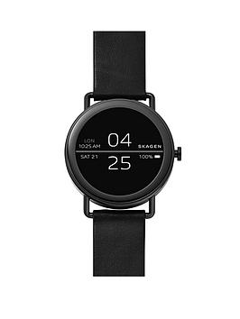 Skagen Skagen display touchscreen smartwatch stainless steel, black leather strap, One Colour, Men thumbnail