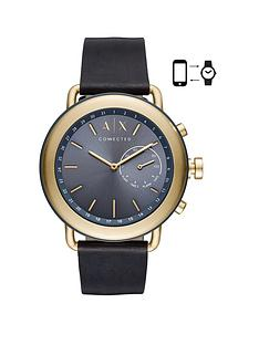 armani-exchange-armani-exchange-mens-hybrid-smartwatch-gold-tone-stainless-steel-case-blue-leather-strap-with-blue-dial
