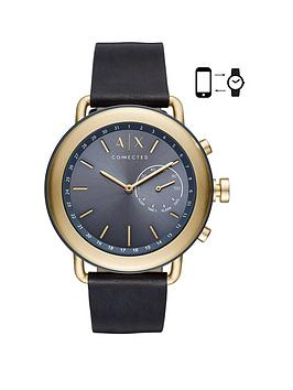 armani-exchange-connected-gold-tone-stainless-steel-case-blue-leather-strap-blue-dial-mens-hybrid-smartwatch