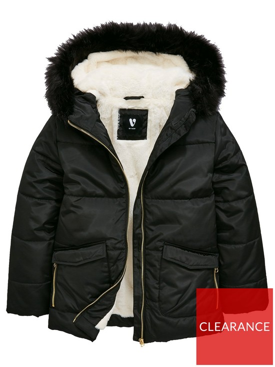79475ed9c V by Very Girls Faux Fur Lined Padded Jacket