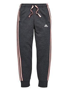 Adidas Girls Three Stripe Slim Pant - Dark Grey Heather thumbnail