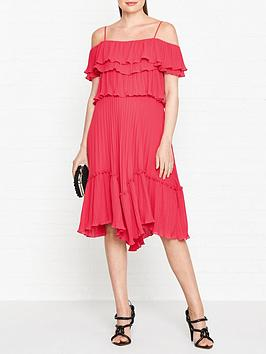halston-heritage-square-neck-ruffle-detail-tie-back-dress-red