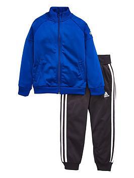 adidas-younger-boys-knit-tracksuit-blueblacknbsp