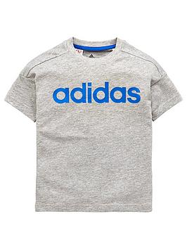 adidas-younger-boys-linear-tee-medium-grey-heathernbsp