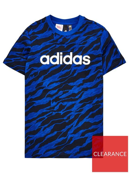 1e8ad385d8f adidas Boys Linear Print Tee - Royal Blue   very.co.uk