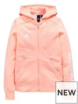 adidas-older-girls-linear-hoodienbsp--coralnbsp