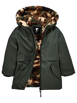 mini-v-by-very-boys-long-line-camouflagenbspfleece-lined-coat-khaki