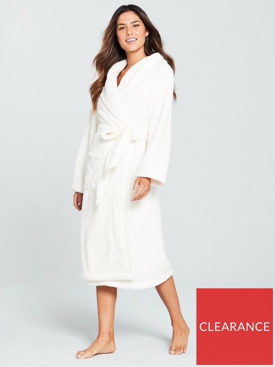 V by Very Textured Hooded Robe - Cream  1b4f23553