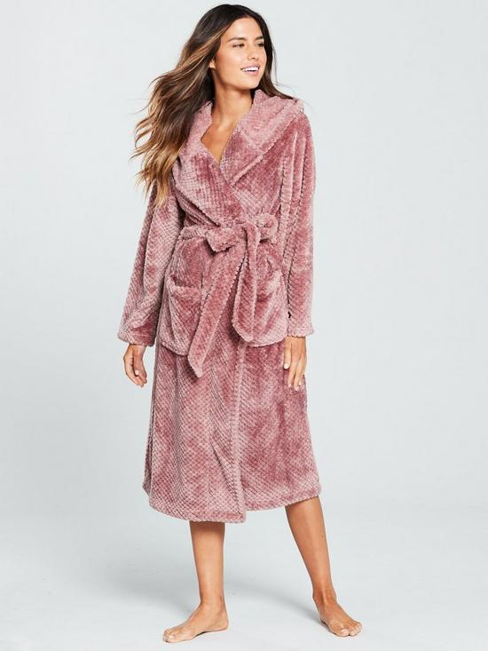 V by Very Textured Hooded Dressing Gown - Dusty Pink  355794454