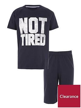 river-island-boys-navy-lsquonot-tiredrsquo-print-pyjama-set
