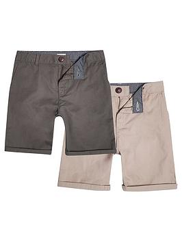 river-island-boys-khaki-and-stone-chino-shorts-multipack