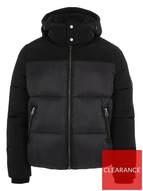 4a6bde4052e3e River Island Boys Black Faux Fur Hood Padded Coat