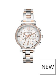 michael-kors-mk6558nbspsofie-two-tone-with-white-sunray-dial-and-paveacute-bezel-ladies-watch