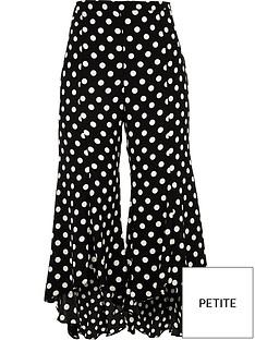ri-petite-split-leg-frilly-spotted-trousers-black