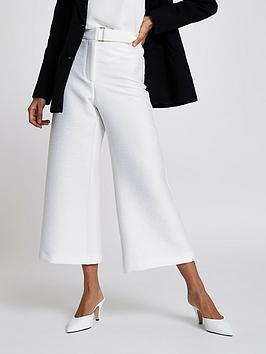 Ri Petite Petite Crop Wide Leg Trousers - White
