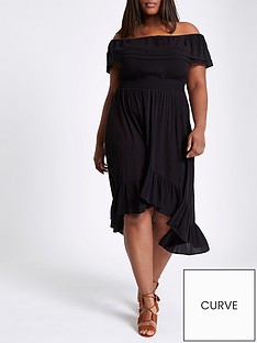 ri-plus-high-low-frill-hem-maxi-dress-black