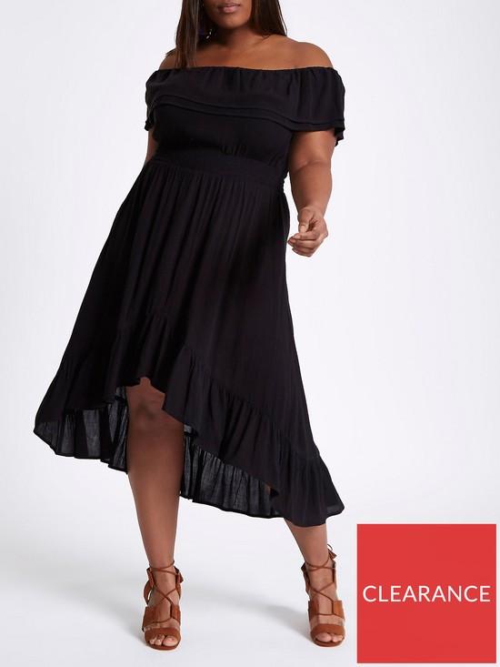 0f4ea6aec3e High-Low Frill Hem Maxi Dress - Black