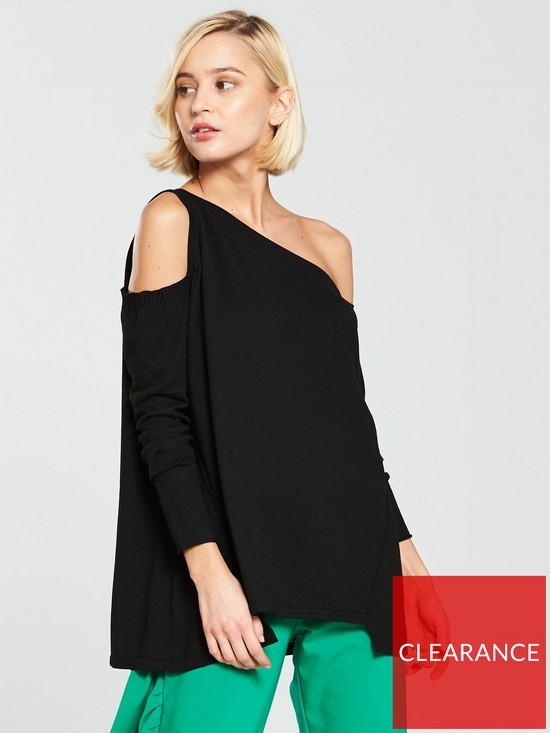 49095280e8414 River Island Asymmetric One Shoulder Knitted Top - Black