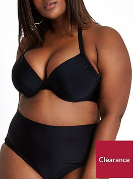 ri-plus-ruched-halter-neck-bikini-top-black