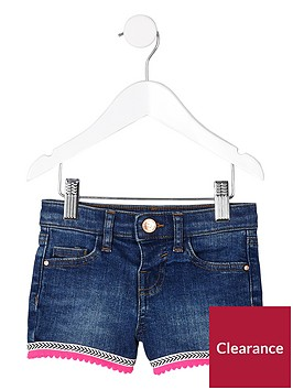 river-island-mini-girls-blue-denim-aztec-trim-shorts