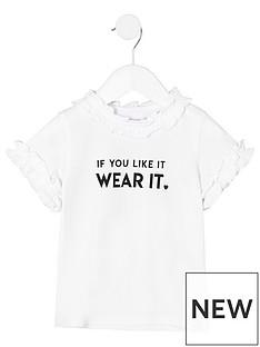 river-island-mini-girls-ruffle-neck-quotif-you-likequot-t-shirt