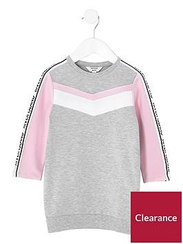 river-island-mini-girls-grey-marl-chevron-sweatshirt-dress