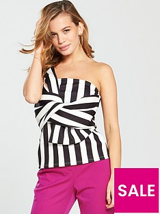 v-by-very-petite-bow-front-bandeau-top-stripe