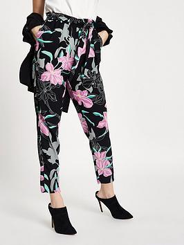 Ri Petite Floral Tie Waist Tapered Trousers - Black