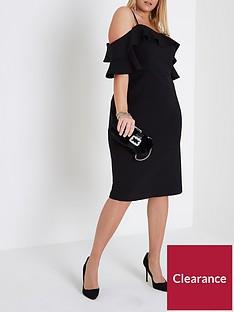 ri-plus-frill-cold-shoulder-bodycon-dress--black