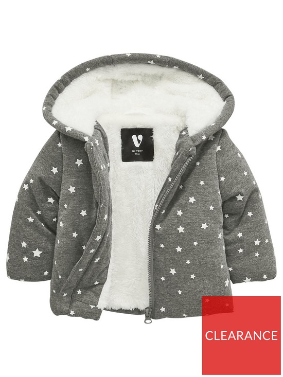 8067603d72c17 Mini V by Very Baby Boys Cosy Faux Fur Lined Jersey Jacket