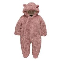 Baby Girls Textured Faux Fur Cuddle Suit With Integral Mitts Pink by Mini V By Very
