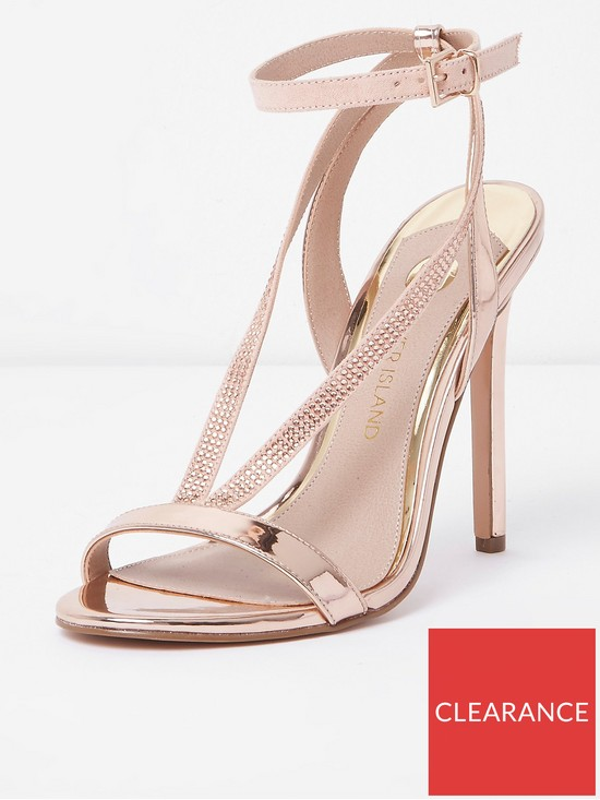 710261b6209f River Island River Island Wide Fit Barely There High Heel Sandals- Rose Gold
