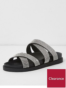 river-island-river-island-wide-fit-diamante-cross-strap-slides--black