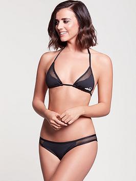 Ellesse Mesh Panel Halter Neck Bikini Top - Black