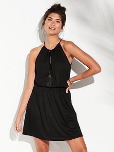 v-by-very-shirred-waist-jersey-beach-dress-black