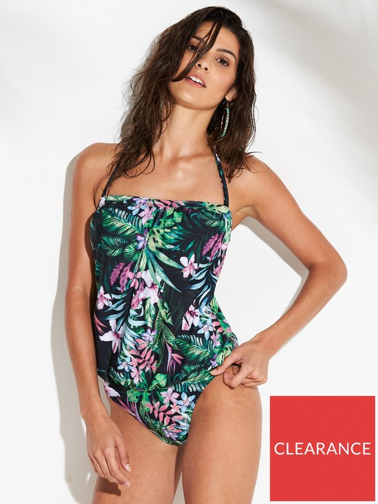 1154dc8b27 V by Very Essentials Blouson Swimsuit - Tropical Print