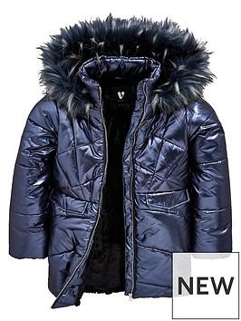 v-by-very-girls-shimmer-padded-longline-navy-coat