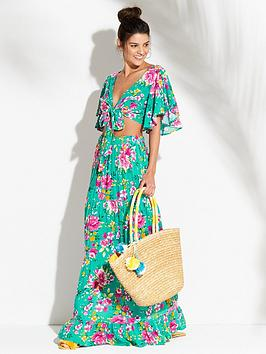 V By Very Angel Sleeve Crop Top And Maxi Skirt Beach Co-Ord Set - Floral