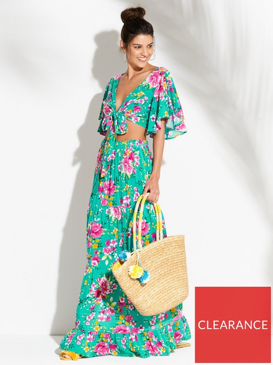4eb09e635 V by Very Angel Sleeve Crop Top and Maxi Skirt Beach Co-Ord Set - Floral