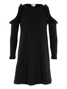 river-island-girls-black-ribbed-cold-shoulder-dress