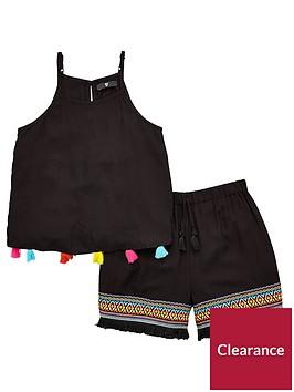 v-by-very-girls-bright-pom-pom-top-and-short-outfit-black