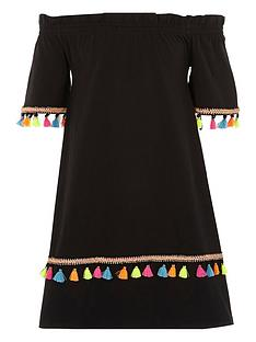 river-island-girls-black-tassel-trim-bardot-dress
