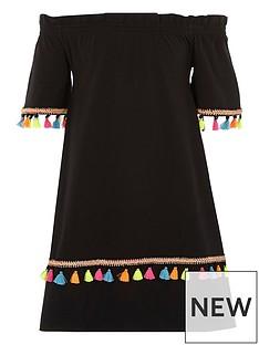 river-island-girls-black-tassel-trim-bardot-dress